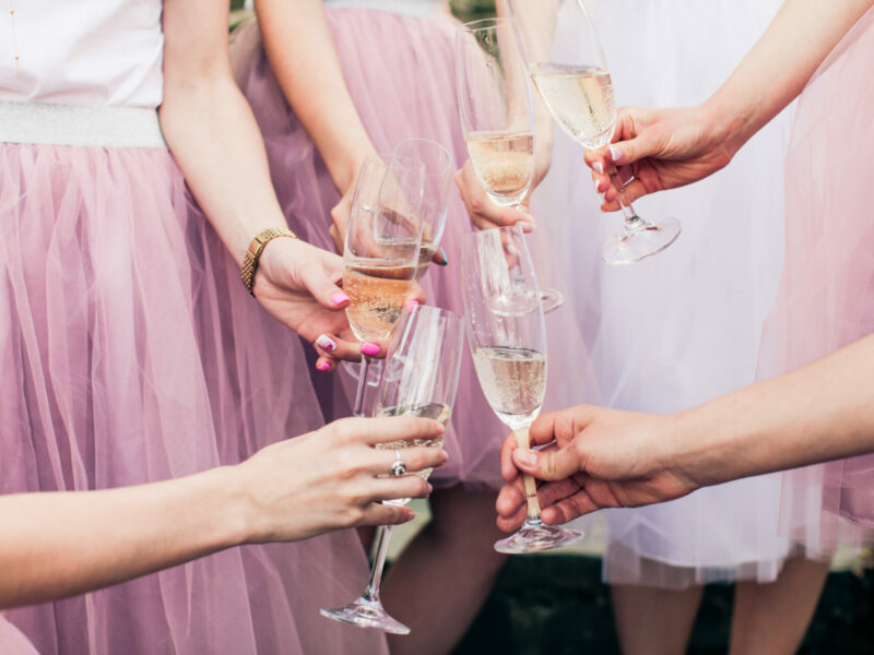 Close view of young girls hands with glasses of champagne. Cropped photo of bride and her girlfriends, all in pink fluffy skirts, holding glasses with wine in their hands