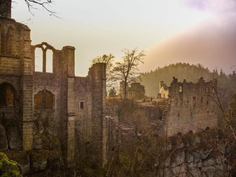 Oybin castle Germany at sunset